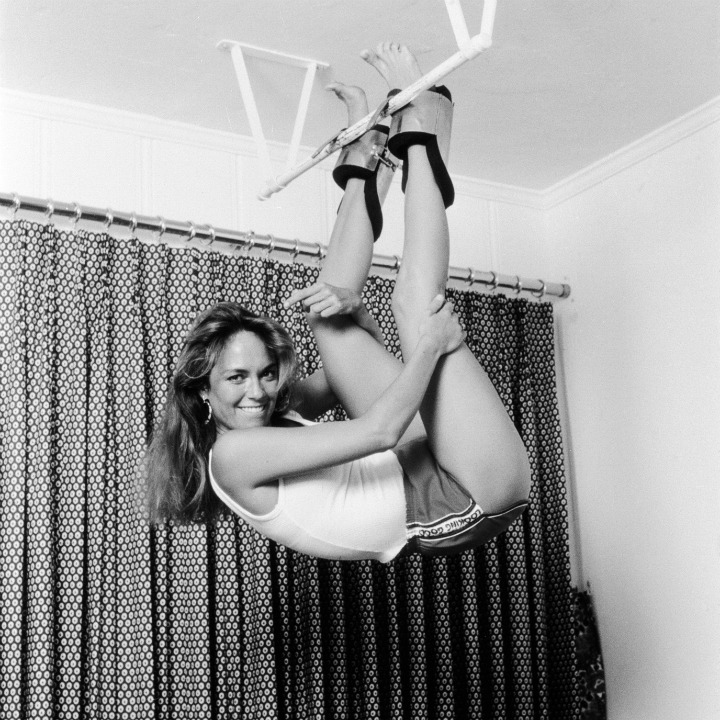 catherine bach hanging upside down